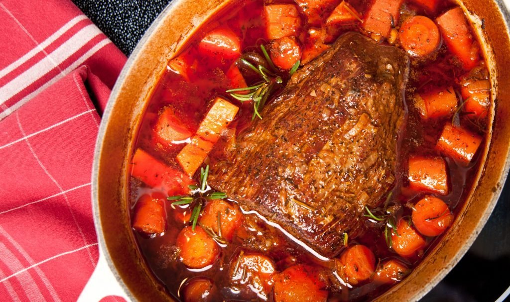 Beef shank braised in wine and carrots