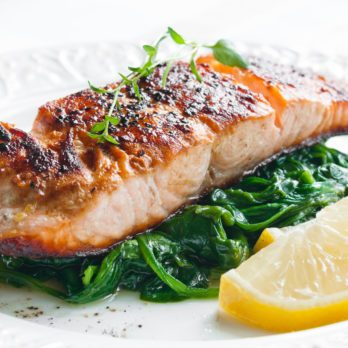 Roasted Salmon with Sauteed Greens