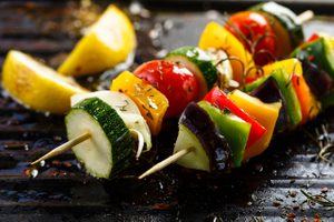 Vegetable Kebabs with Saffron Butter
