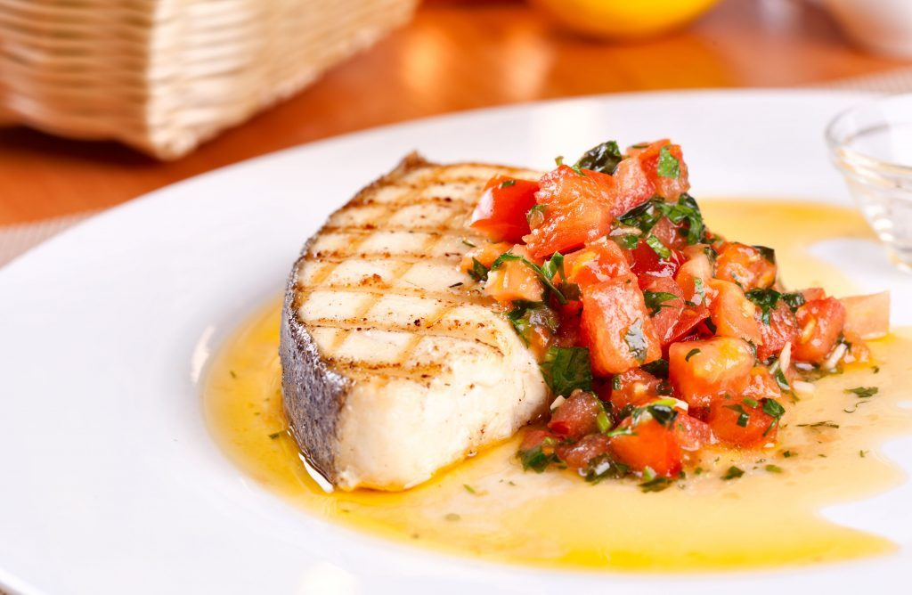 Grilled halibut steaks with tomato and red pepper salsa for How to cook halibut fish