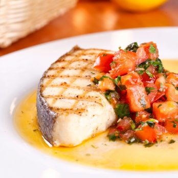 Grilled Halibut Steaks with Tomato and Red Pepper Salsa