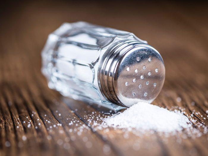 Overturned salt shaker