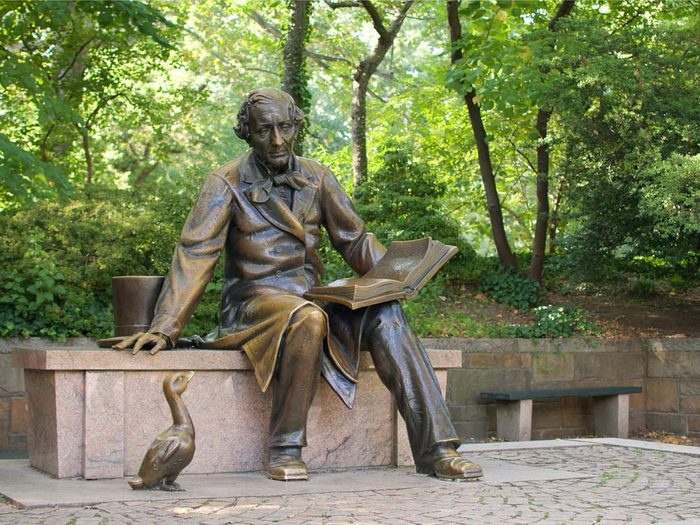 Statue of author Hans Christian Andersen in Denmark