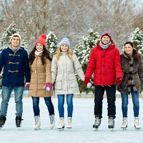 Friends ice skating