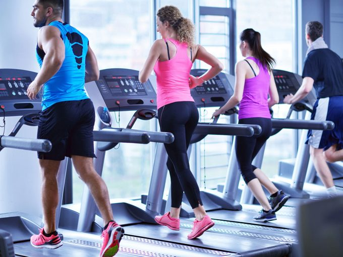 Working out at health club