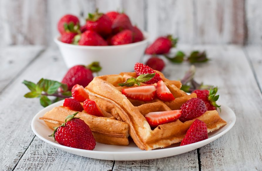 Strawberry bran waffles