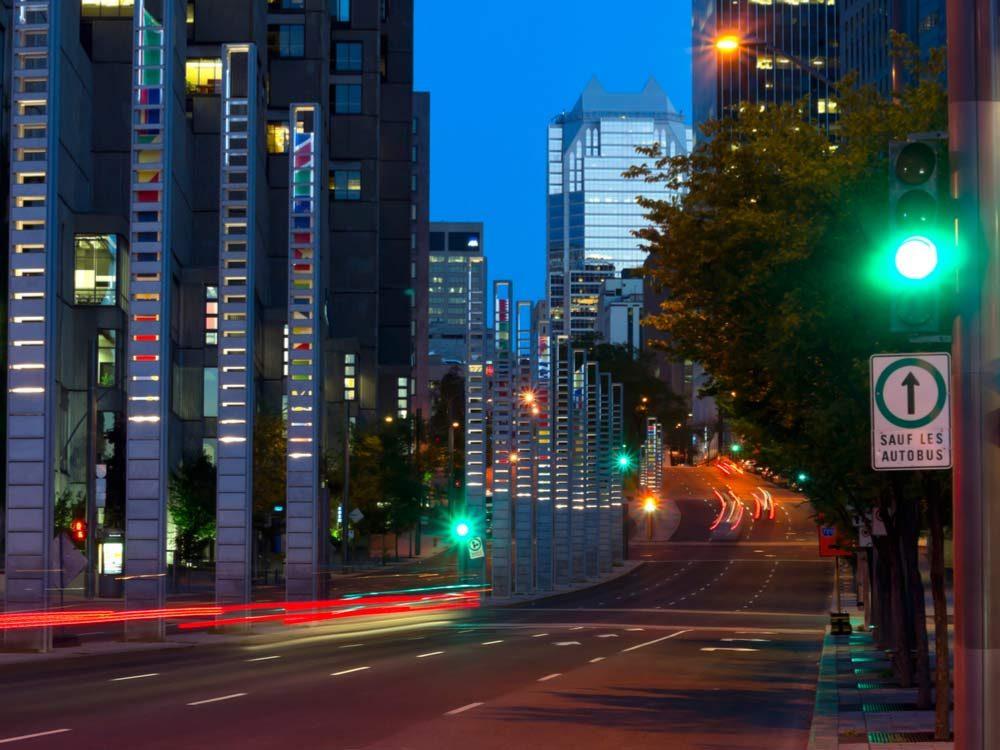 Empty Montreal road