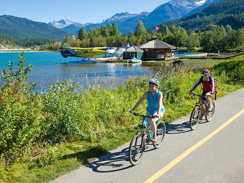 Biking the Valley Trail at Green Lake, Whistler, BC