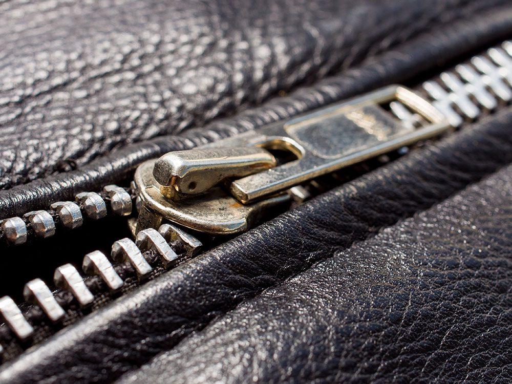Black leather jacket zipper