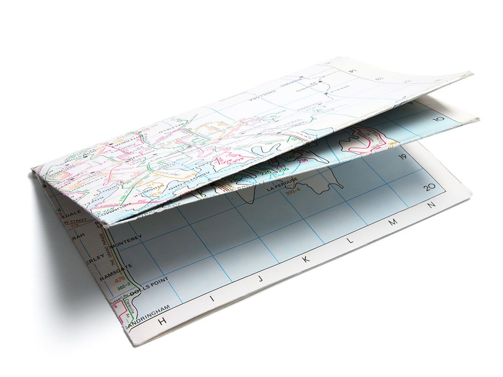 Use clipboards to organize road maps