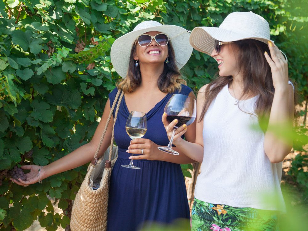 Smiling women drinking wine in vineyard