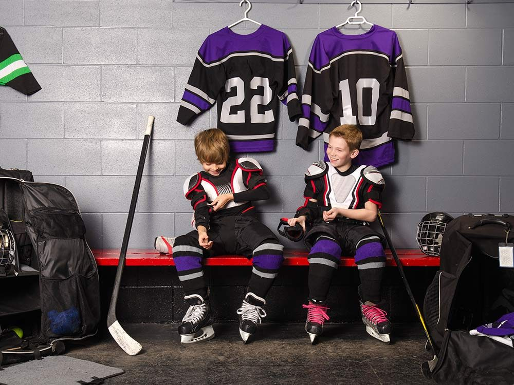Two child hockey players