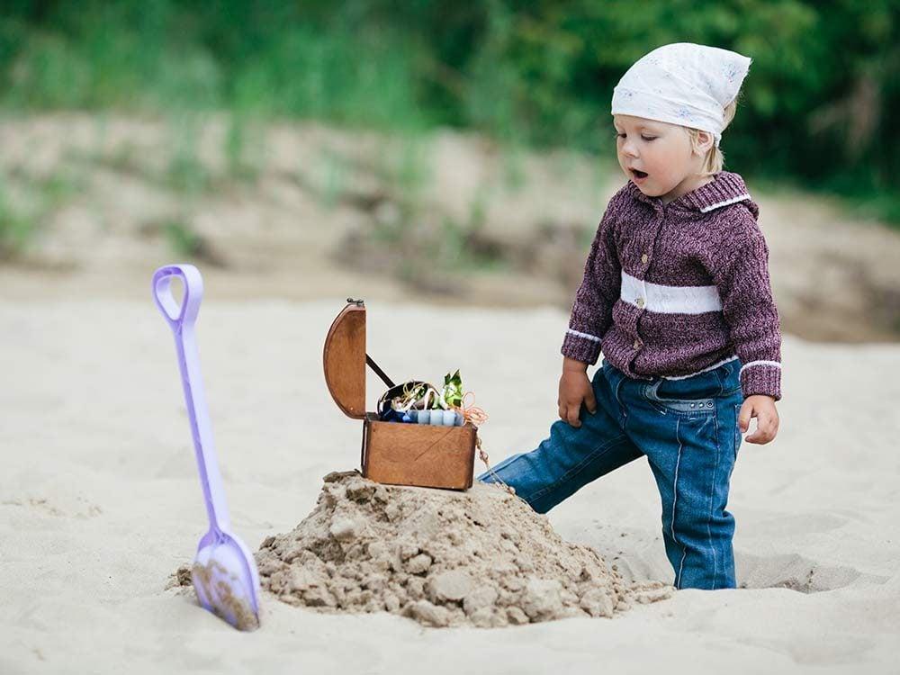Little girl on a treasure hunt