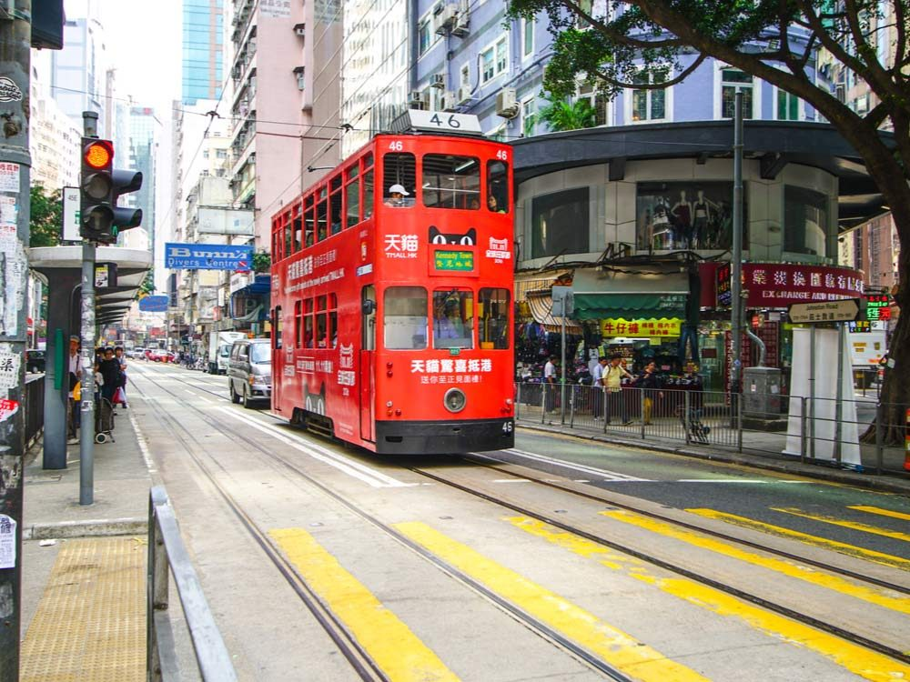 Antique streetcars in Hong Kong