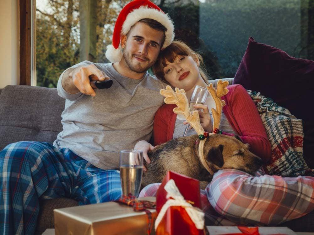 Couple watching Christmas movies