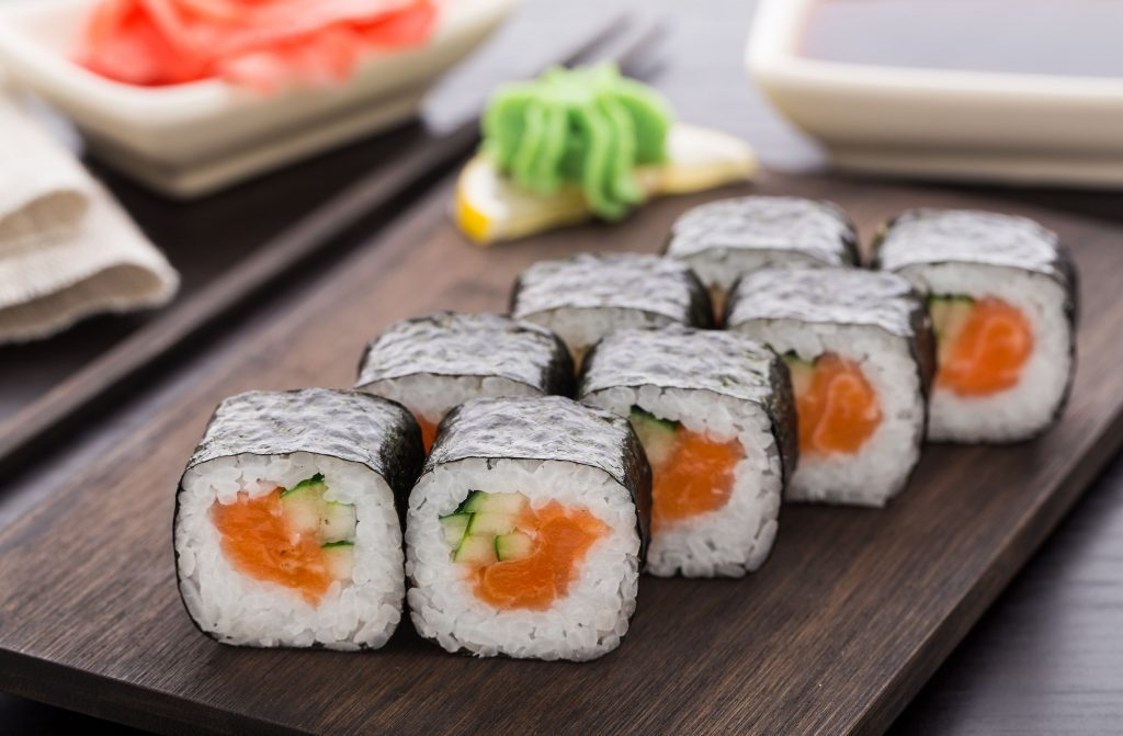 Salmon and cucumber sushi rolls