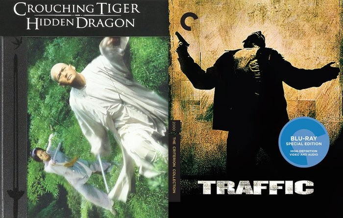 Blu ray covers of Crouching Tiger, Hidden Dragon and Traffic