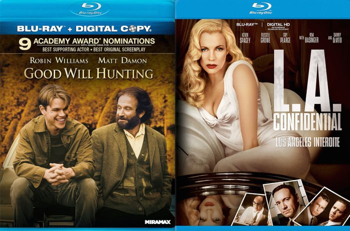 Blu ray covers of Good Will Hunting and L.A. Confidential