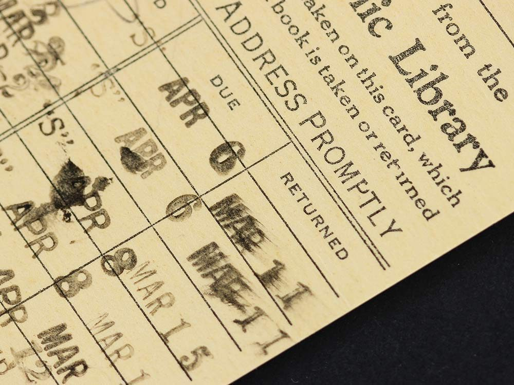 Old library stamp card