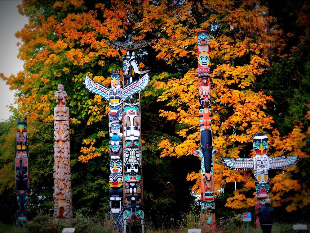 Stanley Park's Totem Pole Display, Vancouver