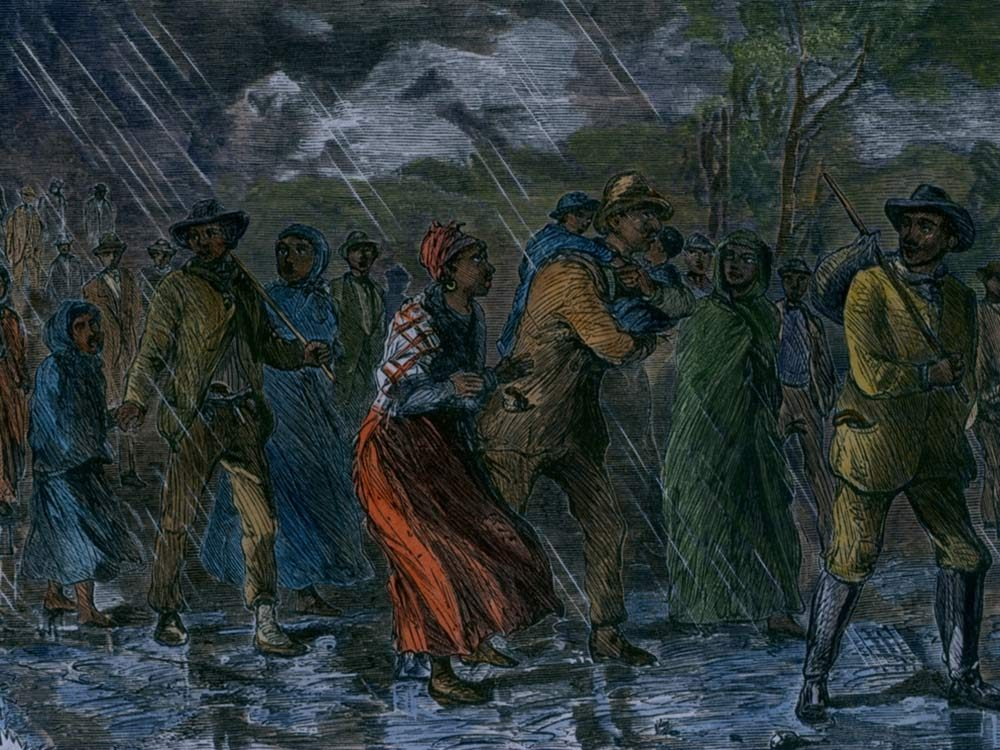 Painting of African slaves escaping through the Underground Railroad
