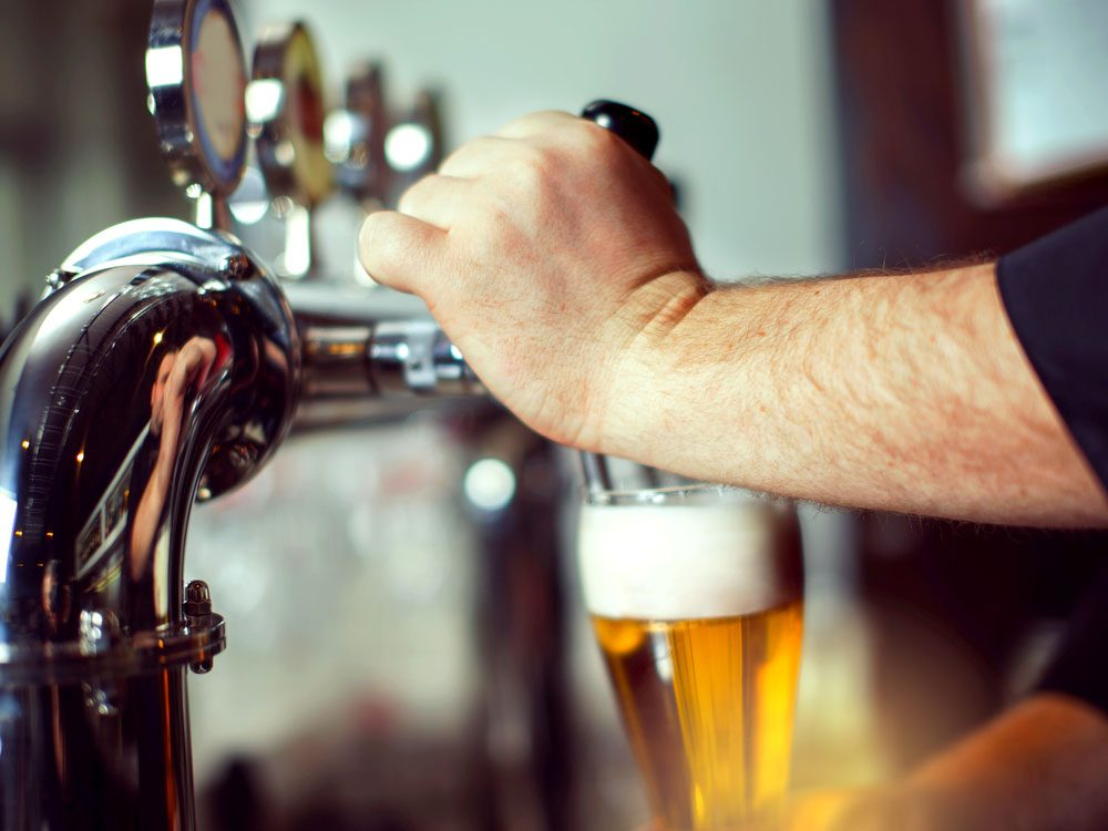 Pour beer on tap