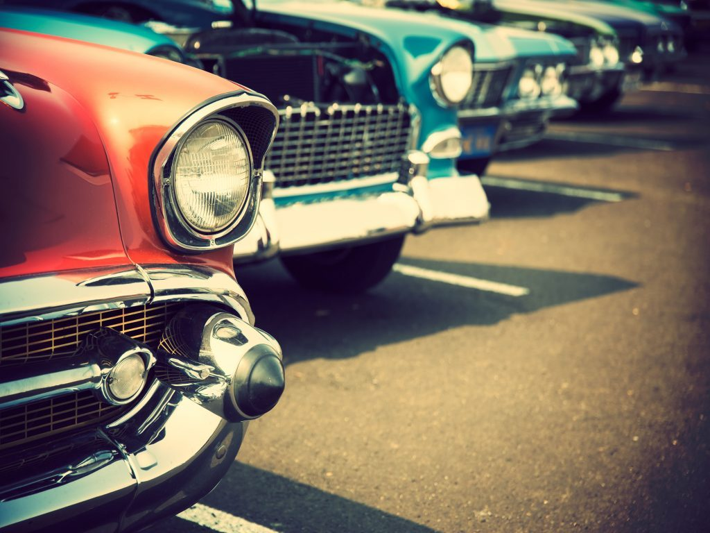 Row of classic cars