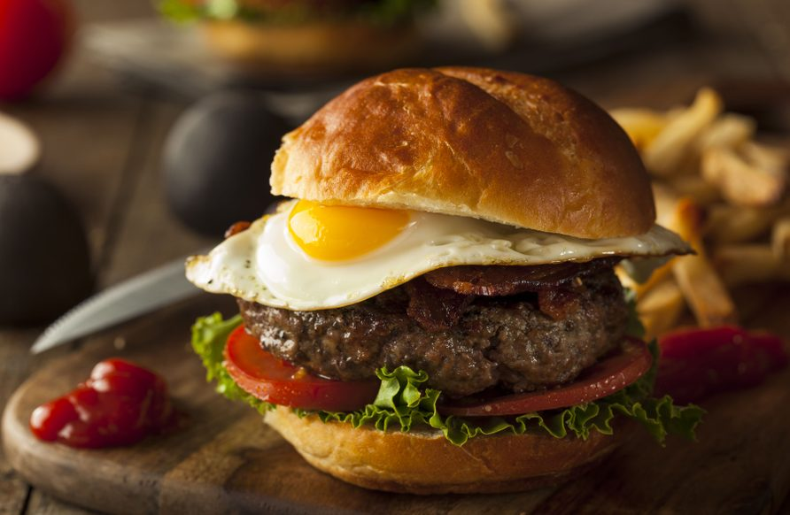 Pork burger with fried egg