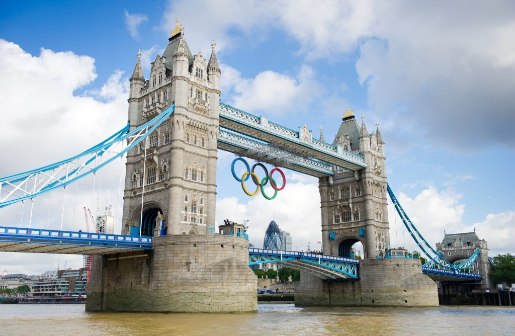 Tower Bridge in London during the 2012 Olympic Games