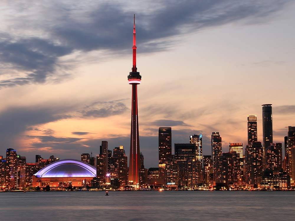 The CN Tower in Toronto is one of the most famous Canadian landmarks