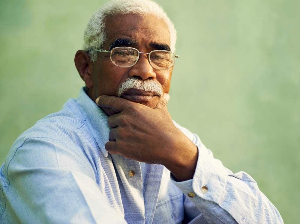 Elderly man with moustache