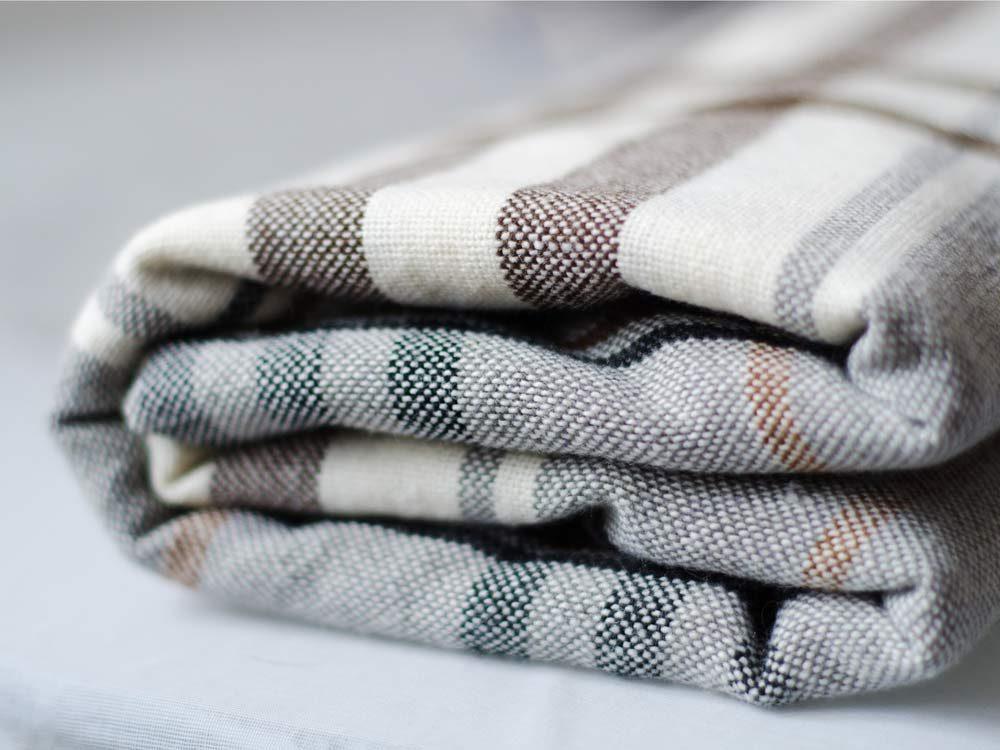 Folded checkered blanket