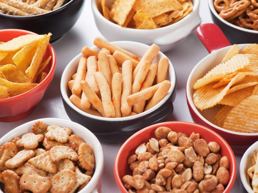 Assorted finger foods and snacks