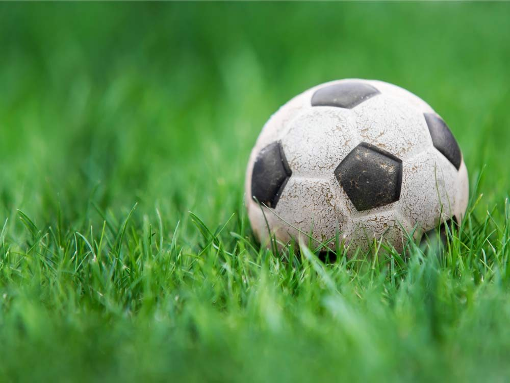 Old soccer ball on grass field