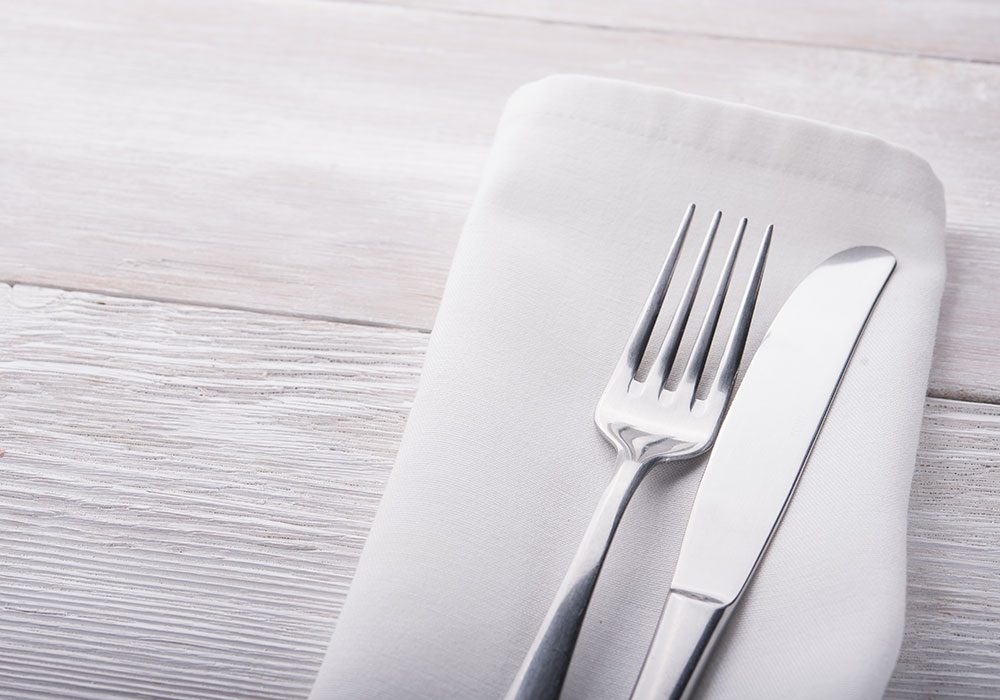 Fork, knife and cloth napkin