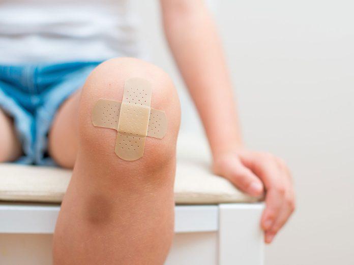 Scraped knee bandaged