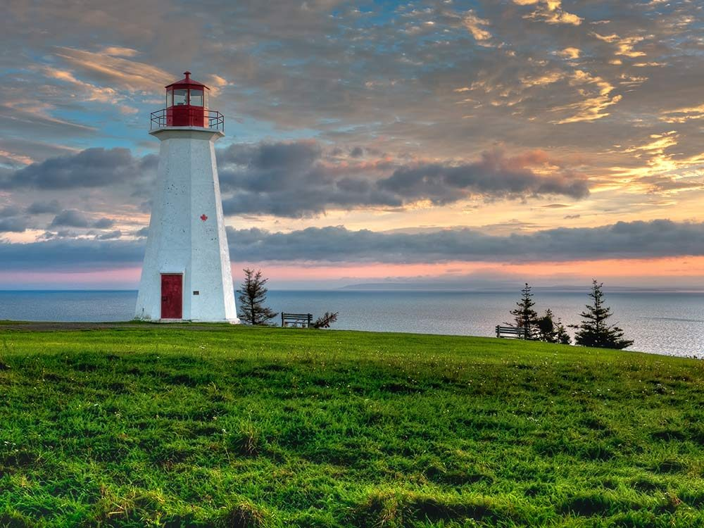 Red lighthouse in Nova Scotia