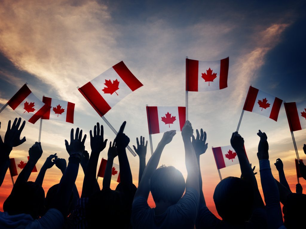 Waving Canada flags