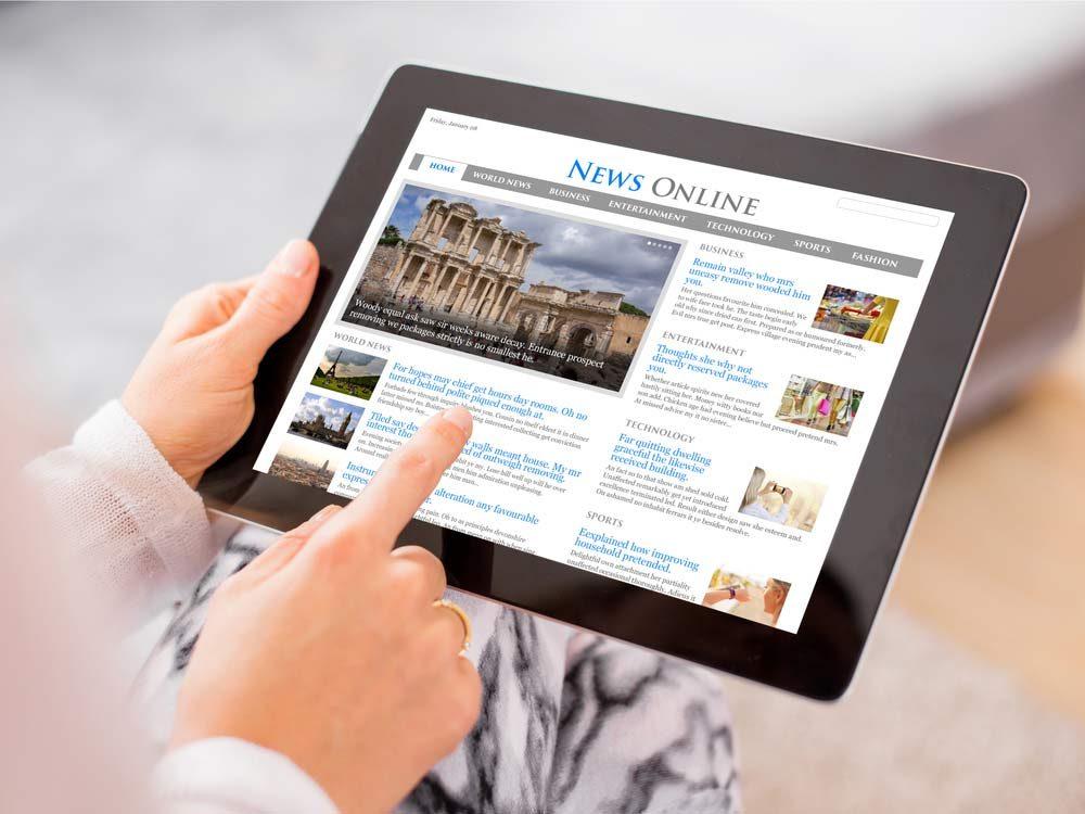 Reading news on iPad