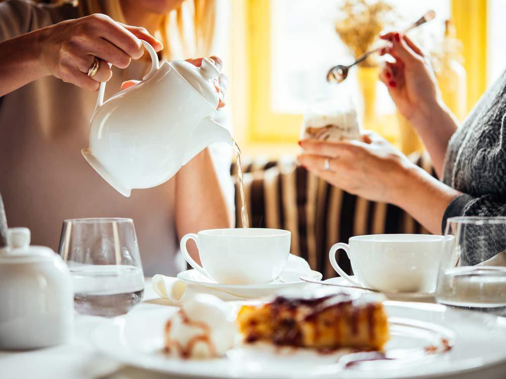 Enjoying tea at restaurant