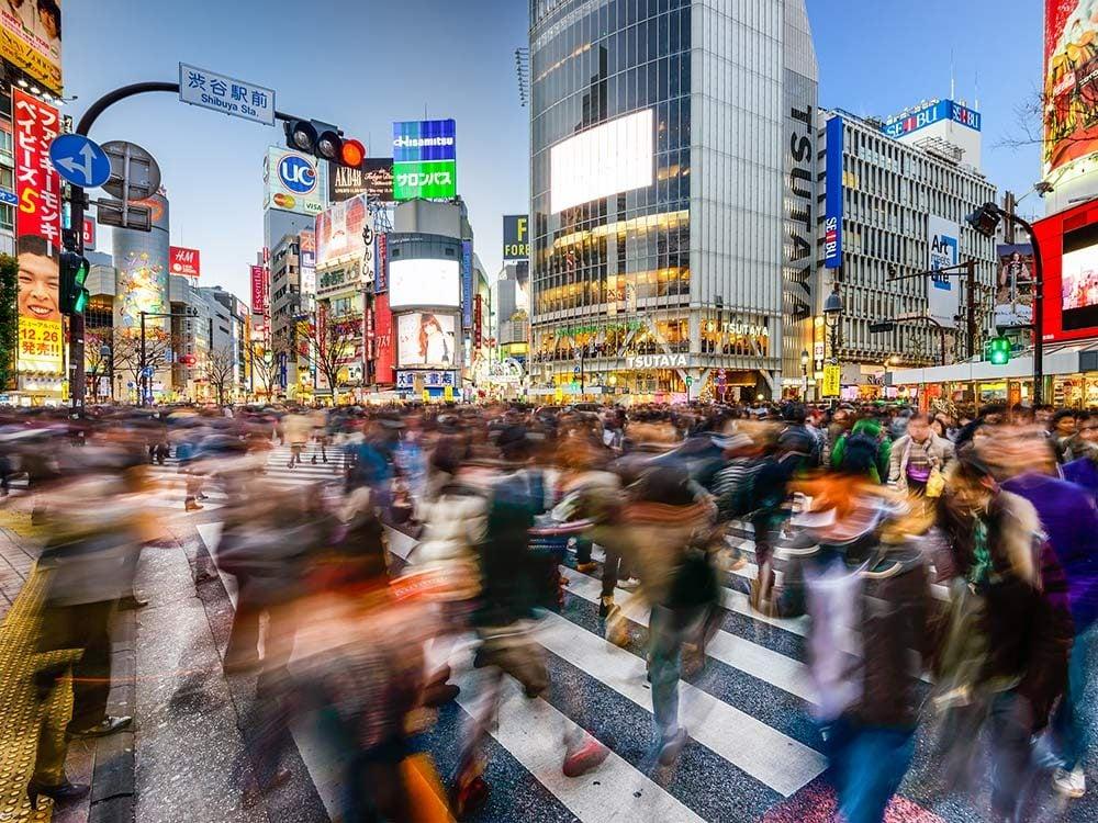 Busy street in Tokyo, Japan