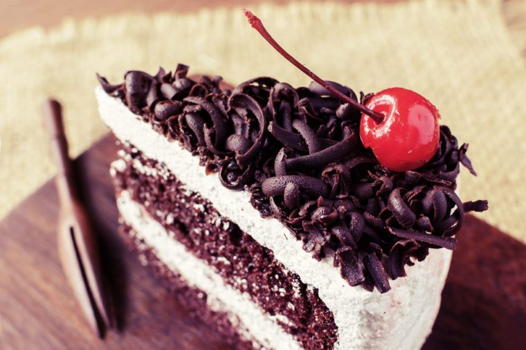 Slice of black forest cake