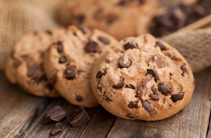 Chocolate chip cookies on a wooden table
