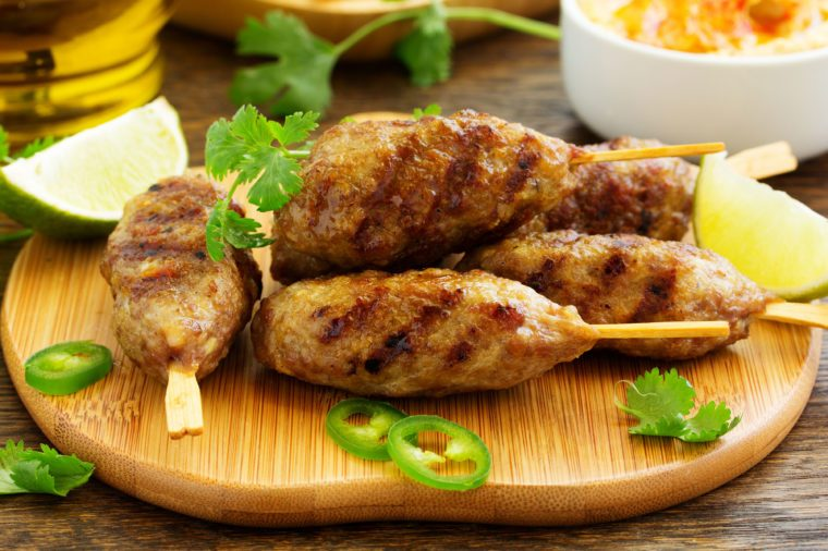 Greek lamb koftas grilled