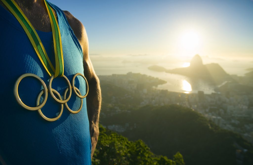 Athlete wearing Olympic medal