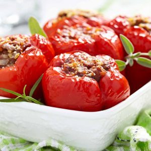 Chicken-Stuffed Peppers With Feta
