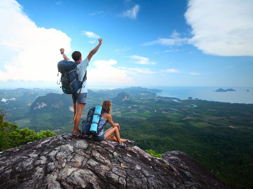Couple mountain hiking