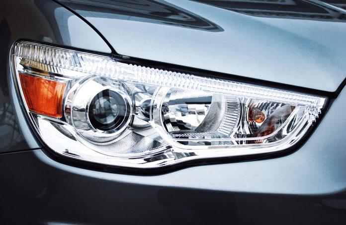 Close-up of car headlights