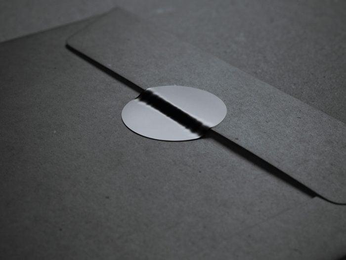 Label of black envelope