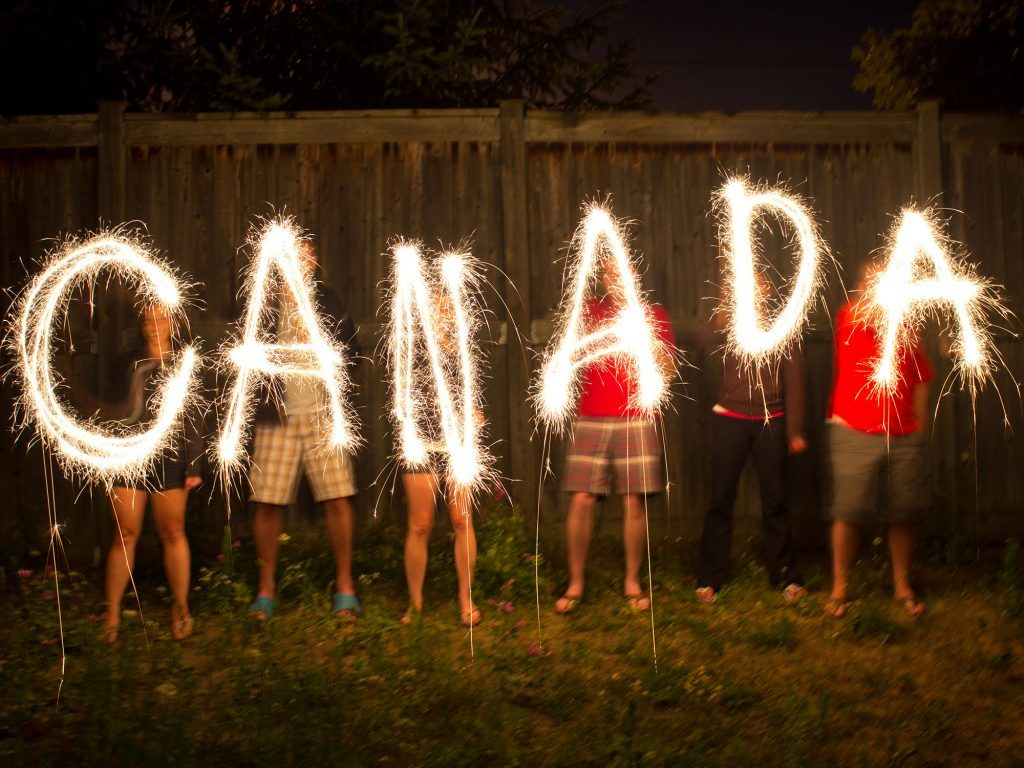 Canada spelled out in sparklers